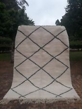 """Beni Ourain Rug 7'6"""" x  5'6"""" Ft Moroccan Rug Handmade Authentic Wool Carpet"""