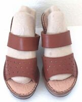 New Women's Born BOC C30041 Brown Leather Wedge Sandals Casual Dress Shoes