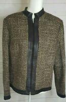 Kate Hill Brown Cream Tweed Blazer Jacket  Leather Trim  Zip  Lined  Size 14P