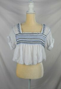 NWOT Free People Women's White Lined Embroidered Bohemian Top sz XS