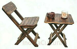 """New Indien Child""""s Folding Table Solid Wood Chair (Finish Color - Brown)"""