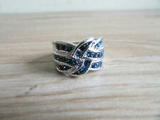 Mounted in White Metal Size S Ring Art Deco Style with Blue Stones