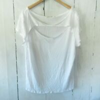 New We The Free People June Cutout Tee T Shirt L Large Optic White Linen Blend