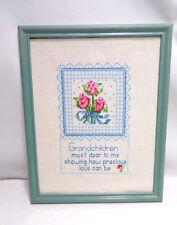 Completed Framed Counted Cross Stitch Grandchildren Floral Blue Vintage 1992