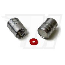 2x Tapón De La Válvula metal para Neumáticos coche, Neumático bicicleta plata