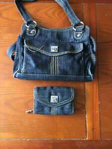 Genuine Ted Baker Denim Small Clutch Bag Hand Bag + Purse, vgc
