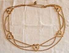 """Awesome & RARE Vintage Gold Plated Heart Scalloped Drop Chain 36"""" Belt NICE"""