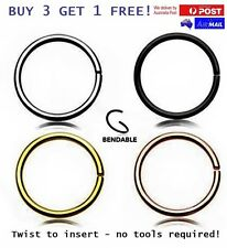 6-8-10mm 18-20g Thin Twist Bend Steel Nose Lip Ear Ring Hoop Piercing Seamless