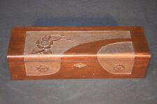 Antique Hand Made Carved Wood Floral Decorated Box w Blue Velvet Lining Vintage
