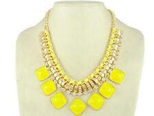 Yellow square stone Pendant Chain Crystal Choker Necklace women Fashion Jewelry
