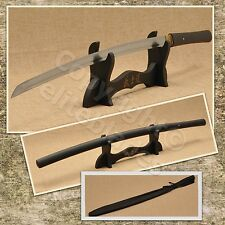 FUNCTIONAL HAND FORGED MUSASHI ZATOICHI SHIRASAYA KATANA SWORD RAZOR SHARP BLK