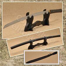 FUNCTIONAL HAND FORGED MUSASHI ZATOICHI SHIRASAYA KATANA SWORD RAZOR SHARP BLK