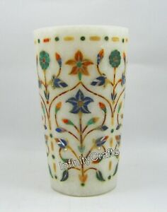 5 Inch White Marble Flower Pot Floral Design Inlaid marble Vase for Garden Decor