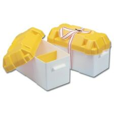 TREM LARGE BATTERY BOX C/W STRAP 200x410x250H mm YELLOW TOP - TOUGH MARINE GRADE