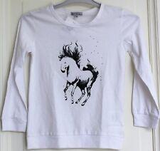 "T-shirt fille ML blanc 6 ans motif ""cheval"" neuf"