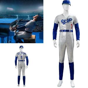 Rocketman Elton John Dodgers Baseball Uniform Cosplay Costume Sequin Jumpsuit