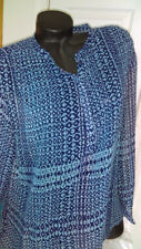 Ana Long Sleeve Blouse, Blue/Green Geo Print, Size 1X