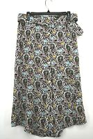 ALC Womens 100% Silk Floral Print Belt Midi Skirt Pockets Front Slit NWT 0