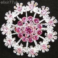 SILVER FLOWER BOUQUET BROOCH PINK DIAMANTE CRYSTAL WEDDING PARTY FAB PIN BROACH