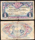 GUERRA CIVIL. 1 Peseta. Ayuntamiento de Lleida. Lérida. 30 de Junio 1937.