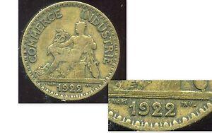 2 francs 1922 CHAMBRE DE COMMERCE ( le 2 de gauche  fermé )  ( bis )