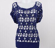 Vivienne Tam Navy Short Sleeve Crochet Top Size XS