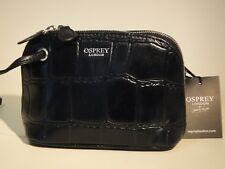 Osprey black leather, crocodile patterned, Libby cross body handbag
