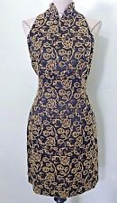 Vintage 80s women dress Chinese Mandarian collar bead floral split side size M L