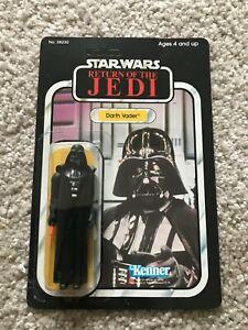 """Vintage Star Wars 1983 ROTJ Darth Vader """"Pointing"""" CLEAR MOC Unpunched 77 Back"""