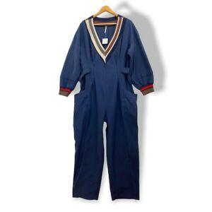 Free People Blue  V Neck Jumpsuit Overalls Size M New
