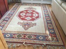 Old Hand Made Turkish Oriental Wool Cream Orange Red Carpet