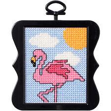 Cross Stitch Mini Kit ~ Plaid-Bucilla Pink Flamingo Bird w/Frame #46410