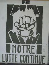 "Affiche originale Mai 68 ""Notre lutte continue"" P1613"