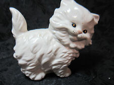 "4"" tall Porcelain White Long Haird Cat Kitten Figurine Collectible Display Stand"