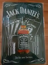 BRAND NEW Jack Daniel's Bottle & Cards Metal Sign -UK Seller