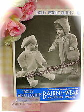 Vintage 1940s Dolls Knitting Pattern For 18 Inch Dolls. 2 Styles Outdoor Outfits