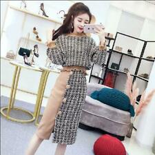 Womens Mixed Color Suits Wool Blend 2pcs Tops Skirts Loose Fit Long Sleeve Sprin