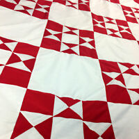 Patchwork Red & White Ohio Star Variation QUILT TOP - Nice