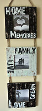Photo-Frame Hanging Triple, Shabby, Seaside, Sentiment, Wooden - Gorgeous