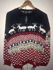 BNWT Men Unisex Ladies Reindeer & Snowflake Xmas Retor Knitted Jumper 2XL-4XL
