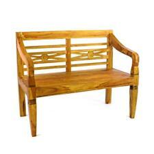 DIVERO 2-Sitzer Holzbank Teak massiv natur Holz Gartenbank Parkbank antik 115 cm