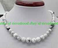 Fashion 6-12mm Round White Turquoise Gemstone Beads Necklace 18'' AAA+