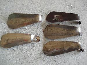 Lot of 5 Vintage Metal Plastic Advertising Shoe Horns Sears Pomeroy Kinney