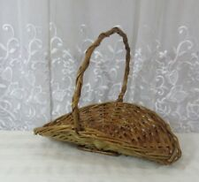 VTG Wicker Basket Round Flat Hand Woven Country Flower Gathering Portugal Farm d
