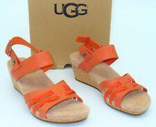 NIB Ugg Australia (W16) Serinda Sandals Opal Fire Wedge Heel Leather Womens SZ 6