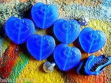 10Stk.tiefblaue Viktorianische Herz-Perlen -16x17mm- Matt Cobalt Blue -m.Blüte-