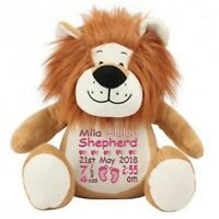 Personalised Lion Teddy Bear New Baby Shower Girl or Boy Birth Details Gift