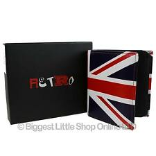 NEW Mens Top Quality LEATHER Tri-Fold Wallet by Retro Union Jack Gift Box RFID