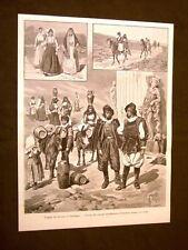 Rarissima stampa della Sardegna del 1899 Uomini e donne in costume tipico