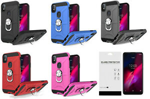 For T-Mobile TCL REVVL 4 5007W 5007Z 5007B Magnetic Ring Stand Case Cover + TG